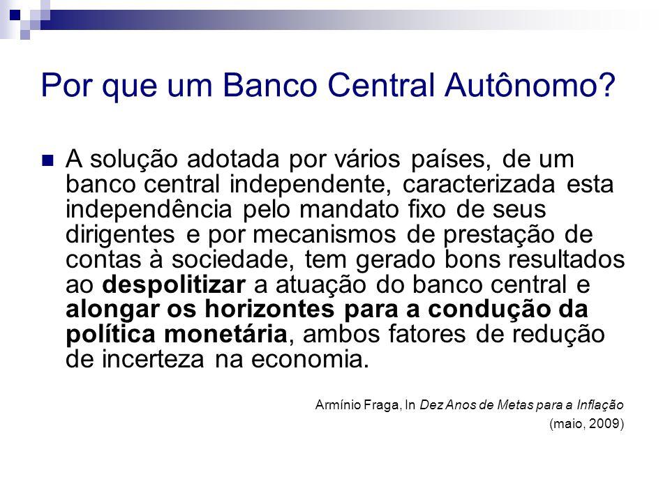 Por que um Banco Central Autônomo? A solução adotada por vários países, de um banco central independente, caracterizada esta independência pelo mandat