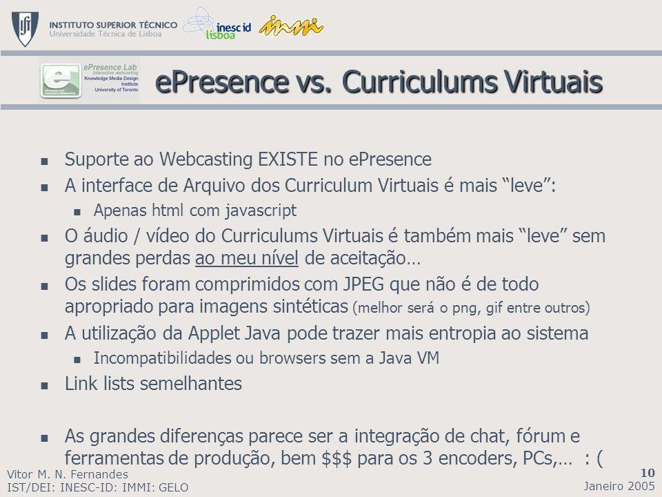 Suporte ao Webcasting EXISTE no ePresence A interface de Arquivo dos Curriculum Virtuais é mais leve: Apenas html com javascript O áudio / vídeo do Cu