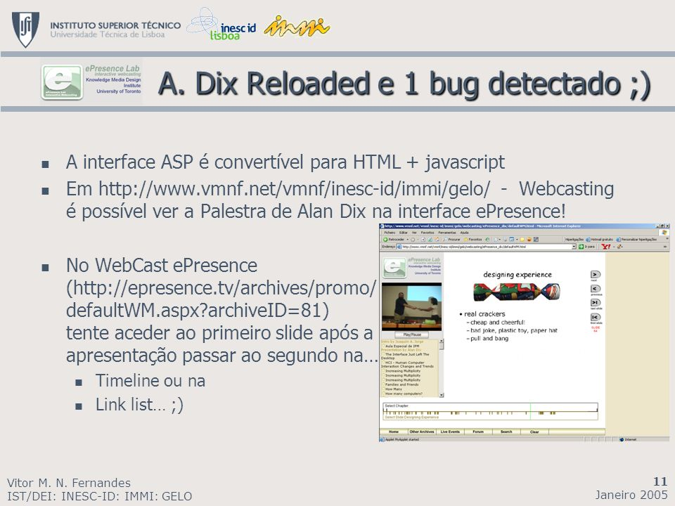 A. Dix Reloaded e 1 bug detectado ;) A.