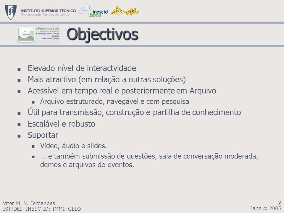 Objectivos Objectivos Elevado nível de interactvidade Mais atractivo (em relação a outras soluções) Acessível em tempo real e posteriormente em Arquiv