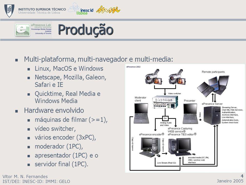 Produção Produção Multi-plataforma, multi-navegador e multi-media: Linux, MacOS e Windows Netscape, Mozilla, Galeon, Safari e IE Quicktime, Real Media e Windows Media Hardware envolvido máquinas de filmar (>=1), vídeo switcher, vários encoder (3xPC), moderador (1PC), apresentador (1PC) e o servidor final (1PC).