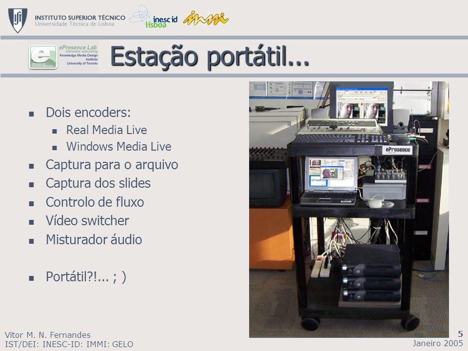 Estação portátil... Estação portátil... Dois encoders: Real Media Live Windows Media Live Captura para o arquivo Captura dos slides Controlo de fluxo
