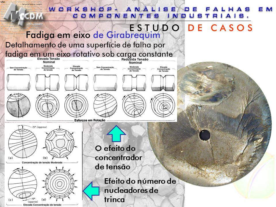 Fadiga em eixo de Girabrequim Detalhamento de uma superfície de falha por fadiga em um eixo rotativo sob carga constante O efeito do concentrador de t