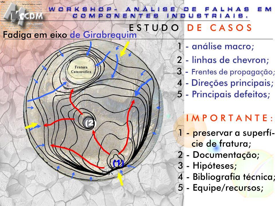 Fadiga em eixo de Girabrequim (1) (2) Fratura Catastrófica 1 - análise macro; 2 - linhas de chevron; 3 - Frentes de propagação; 4 - Direções principai