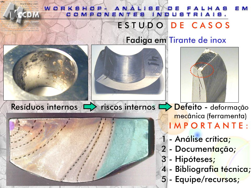 Resíduos internosriscos internos Fadiga em Tirante de inox Defeito - deformação mecânica (ferramenta) I M P O R T A N T E : 1 - Análise crítica; 2 - D
