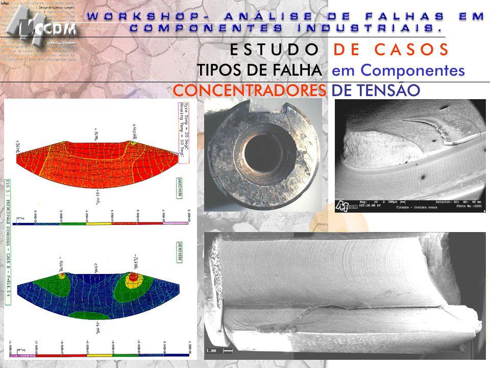 CONCENTRADORES DE TENSÃO TIPOS DE FALHA em Componentes E S T U D O D E C A S O S