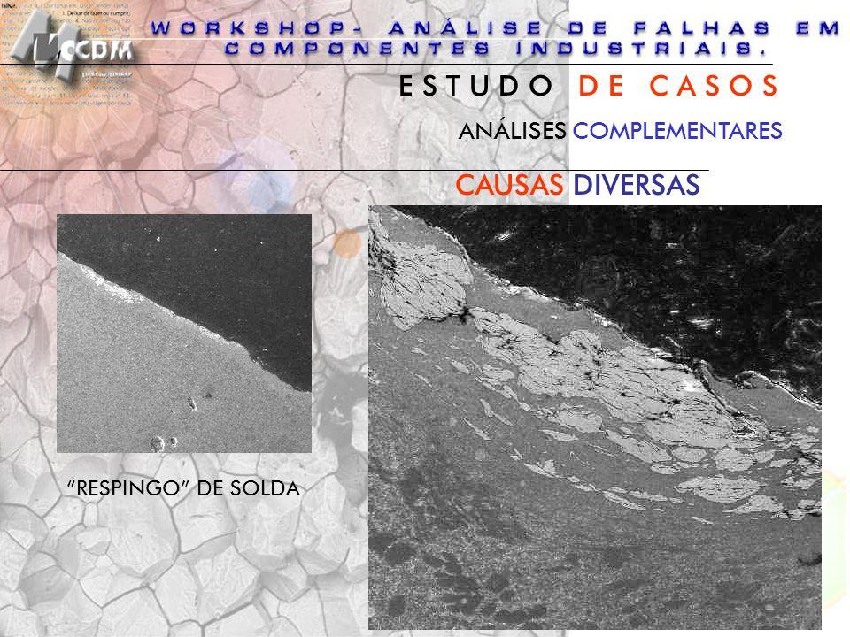 ANÁLISES COMPLEMENTARES CAUSAS DIVERSAS RESPINGO DE SOLDA E S T U D O D E C A S O S