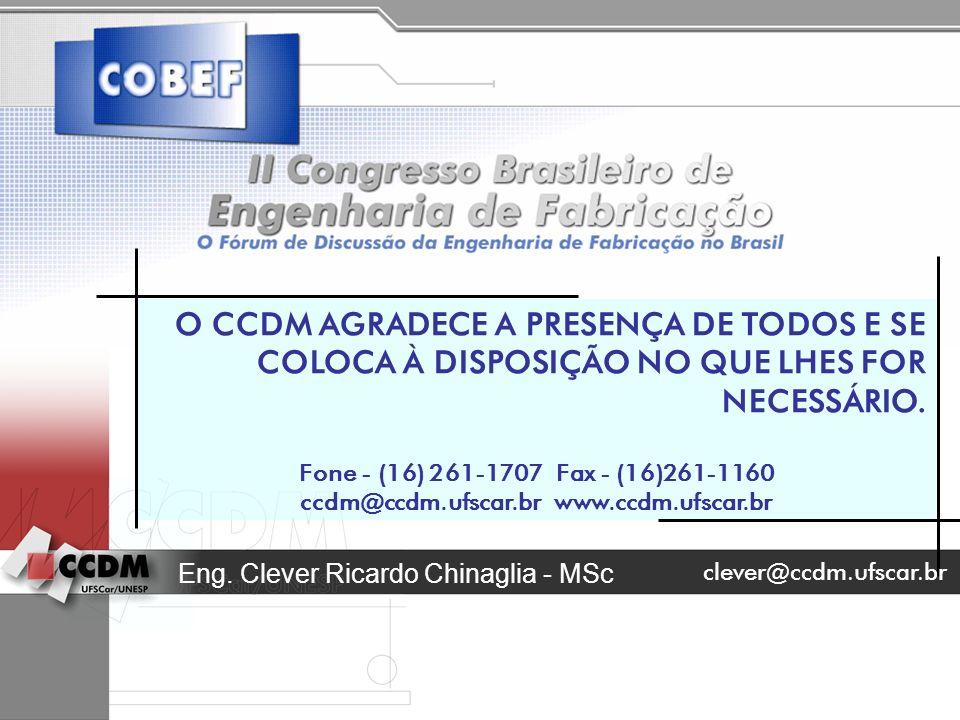 Eng. Clever Ricardo Chinaglia - MSc O CCDM AGRADECE A PRESENÇA DE TODOS E SE COLOCA À DISPOSIÇÃO NO QUE LHES FOR NECESSÁRIO. Fone - (16) 261-1707 Fax