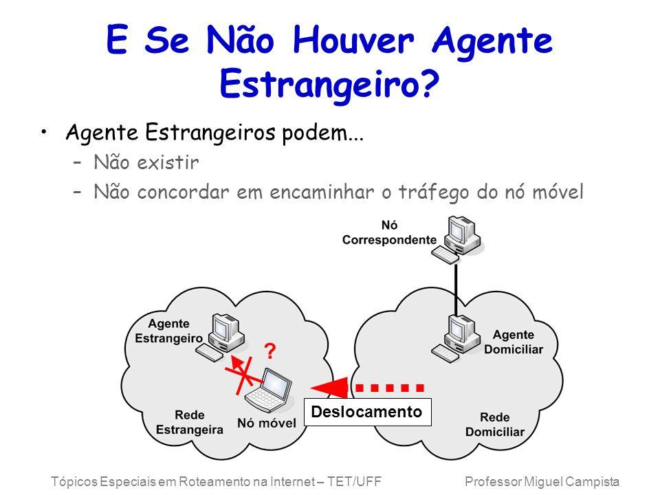 Tópicos Especiais em Roteamento na Internet – TET/UFF Professor Miguel Campista E Se Não Houver Agente Estrangeiro? Agente Estrangeiros podem... –Não