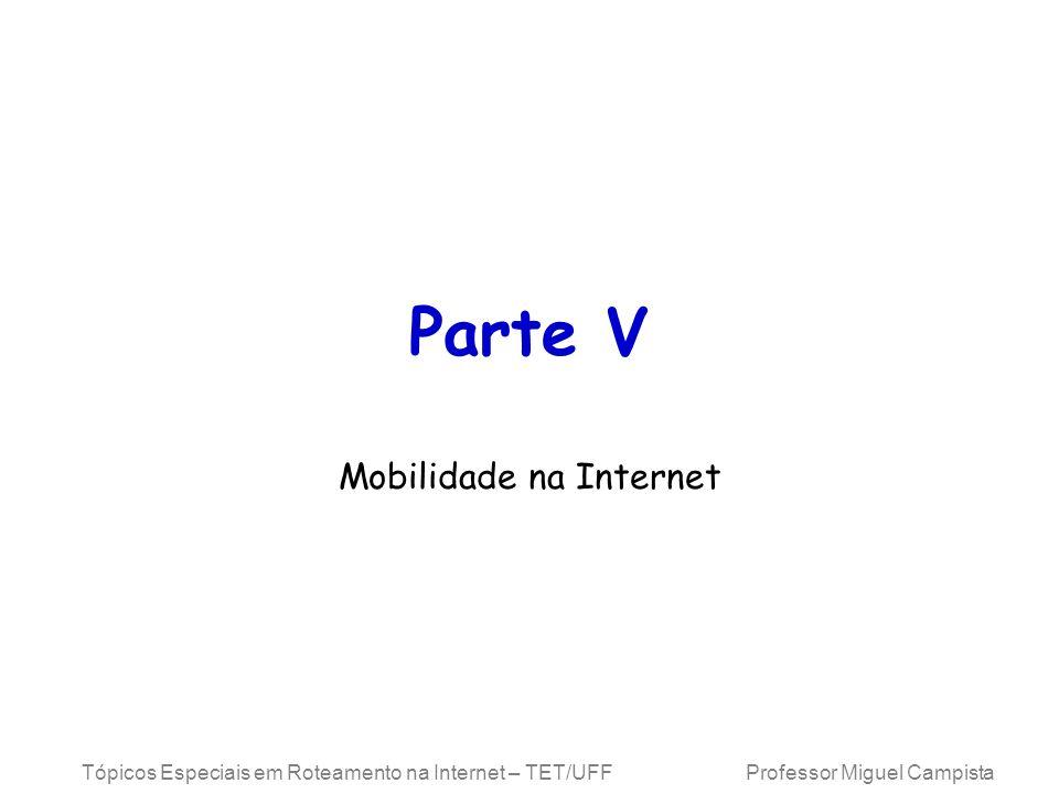 Tópicos Especiais em Roteamento na Internet – TET/UFF Professor Miguel Campista Encapsulamento Genérico de Roteamento (GRE) Procedimento genérico desenvolvido pela CISCO antes do IP Móvel –Cabeçalho GRE entre o cabeçalho IP novo (cabeçalho de entrega) e o cabeçalho IP original HA COA, GRE Param.