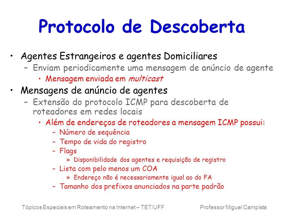 Tópicos Especiais em Roteamento na Internet – TET/UFF Professor Miguel Campista Protocolo de Descoberta Agentes Estrangeiros e agentes Domiciliares –E