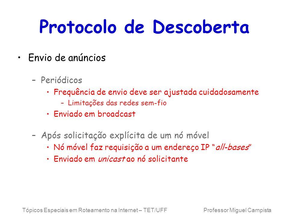 Tópicos Especiais em Roteamento na Internet – TET/UFF Professor Miguel Campista Protocolo de Descoberta Envio de anúncios –Periódicos Frequência de en