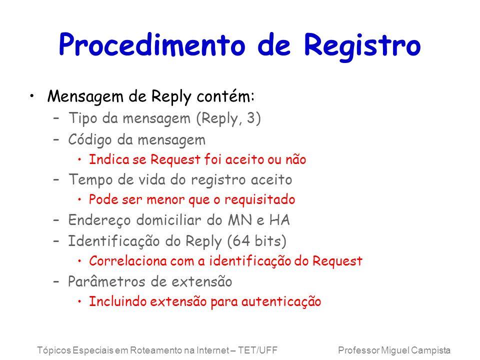 Tópicos Especiais em Roteamento na Internet – TET/UFF Professor Miguel Campista Procedimento de Registro Mensagem de Reply contém: –Tipo da mensagem (
