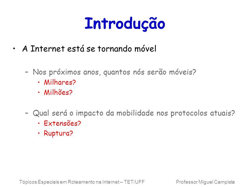 Tópicos Especiais em Roteamento na Internet – TET/UFF Professor Miguel Campista Introdução A Internet está se tornando móvel –Nos próximos anos, quant
