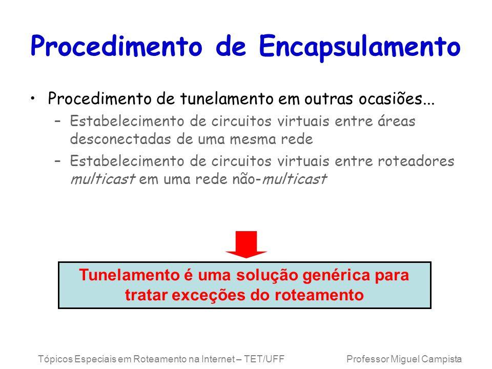 Tópicos Especiais em Roteamento na Internet – TET/UFF Professor Miguel Campista Procedimento de Encapsulamento Procedimento de tunelamento em outras o