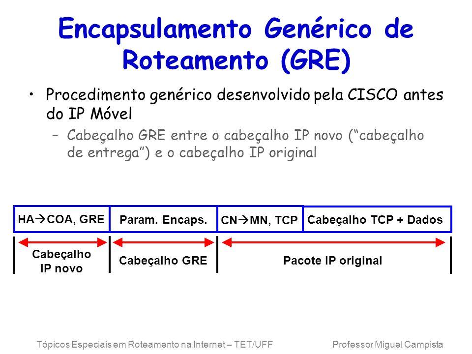 Tópicos Especiais em Roteamento na Internet – TET/UFF Professor Miguel Campista Encapsulamento Genérico de Roteamento (GRE) Procedimento genérico dese