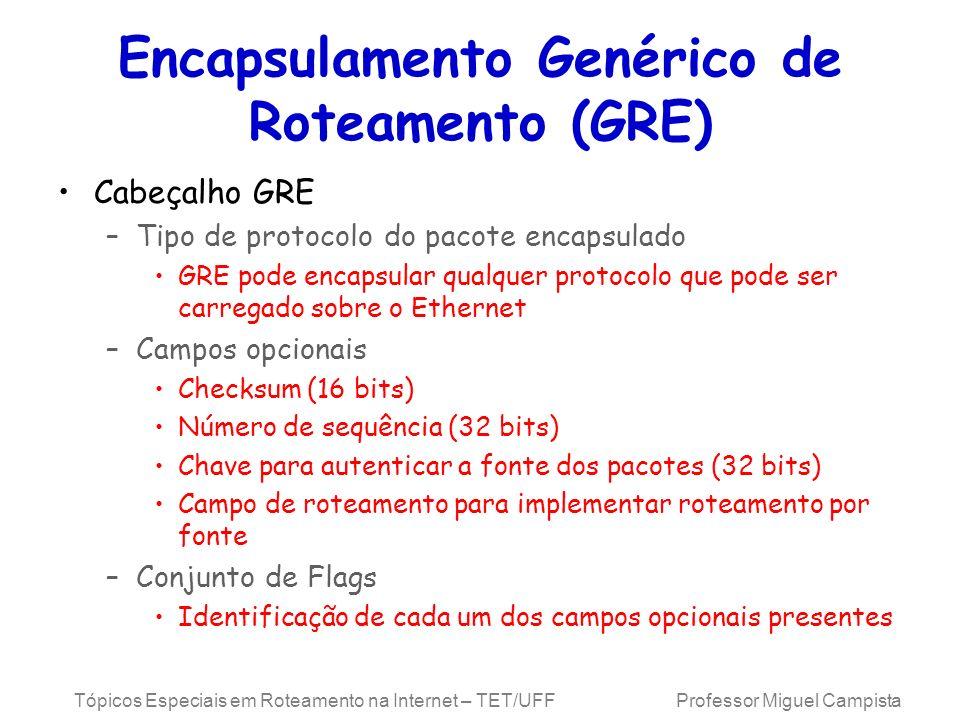 Tópicos Especiais em Roteamento na Internet – TET/UFF Professor Miguel Campista Encapsulamento Genérico de Roteamento (GRE) Cabeçalho GRE –Tipo de pro