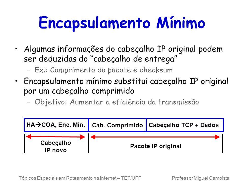 Tópicos Especiais em Roteamento na Internet – TET/UFF Professor Miguel Campista Encapsulamento Mínimo Algumas informações do cabeçalho IP original pod