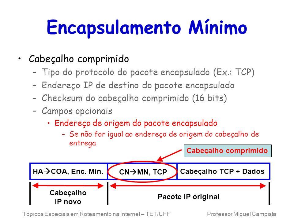 Tópicos Especiais em Roteamento na Internet – TET/UFF Professor Miguel Campista Encapsulamento Mínimo Cabeçalho comprimido –Tipo do protocolo do pacot