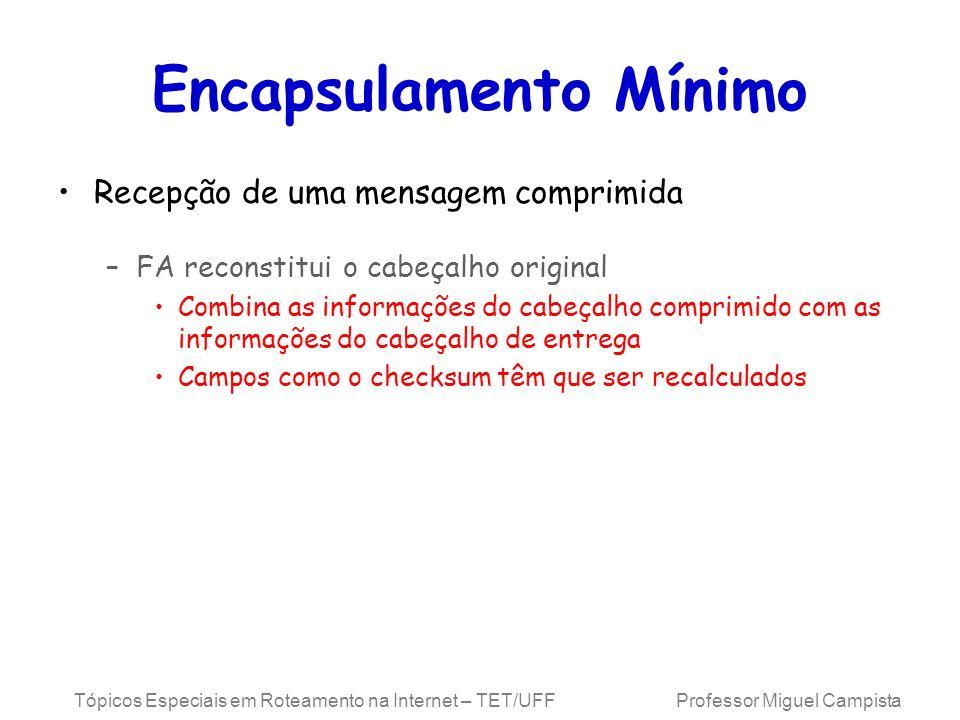 Tópicos Especiais em Roteamento na Internet – TET/UFF Professor Miguel Campista Encapsulamento Mínimo Recepção de uma mensagem comprimida –FA reconsti