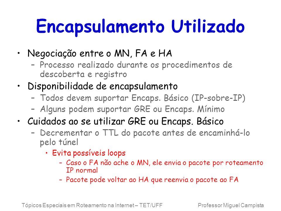Tópicos Especiais em Roteamento na Internet – TET/UFF Professor Miguel Campista Encapsulamento Utilizado Negociação entre o MN, FA e HA –Processo real