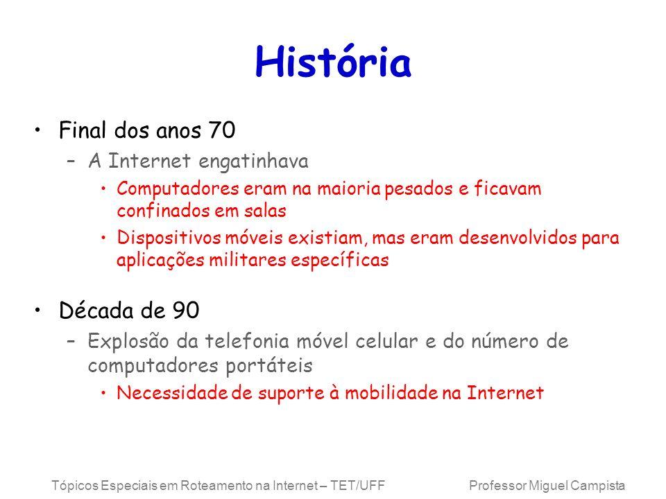 Tópicos Especiais em Roteamento na Internet – TET/UFF Professor Miguel Campista História Final dos anos 70 –A Internet engatinhava Computadores eram n