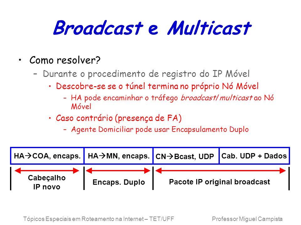 Tópicos Especiais em Roteamento na Internet – TET/UFF Professor Miguel Campista Broadcast e Multicast Como resolver? –Durante o procedimento de regist