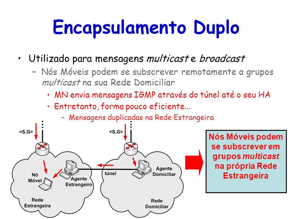 Tópicos Especiais em Roteamento na Internet – TET/UFF Professor Miguel Campista Encapsulamento Duplo Utilizado para mensagens multicast e broadcast –N