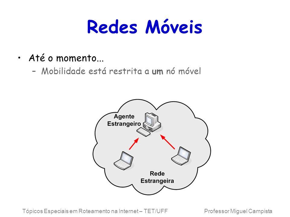 Tópicos Especiais em Roteamento na Internet – TET/UFF Professor Miguel Campista Redes Móveis Até o momento... –Mobilidade está restrita a um nó móvel