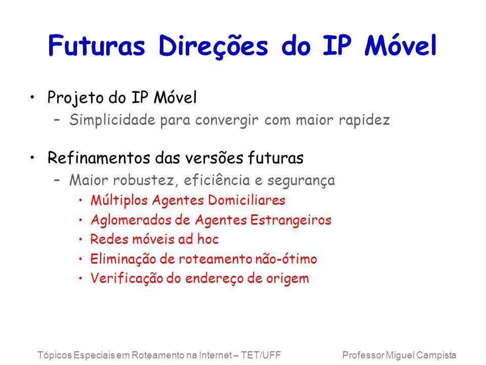 Tópicos Especiais em Roteamento na Internet – TET/UFF Professor Miguel Campista Futuras Direções do IP Móvel Projeto do IP Móvel –Simplicidade para co