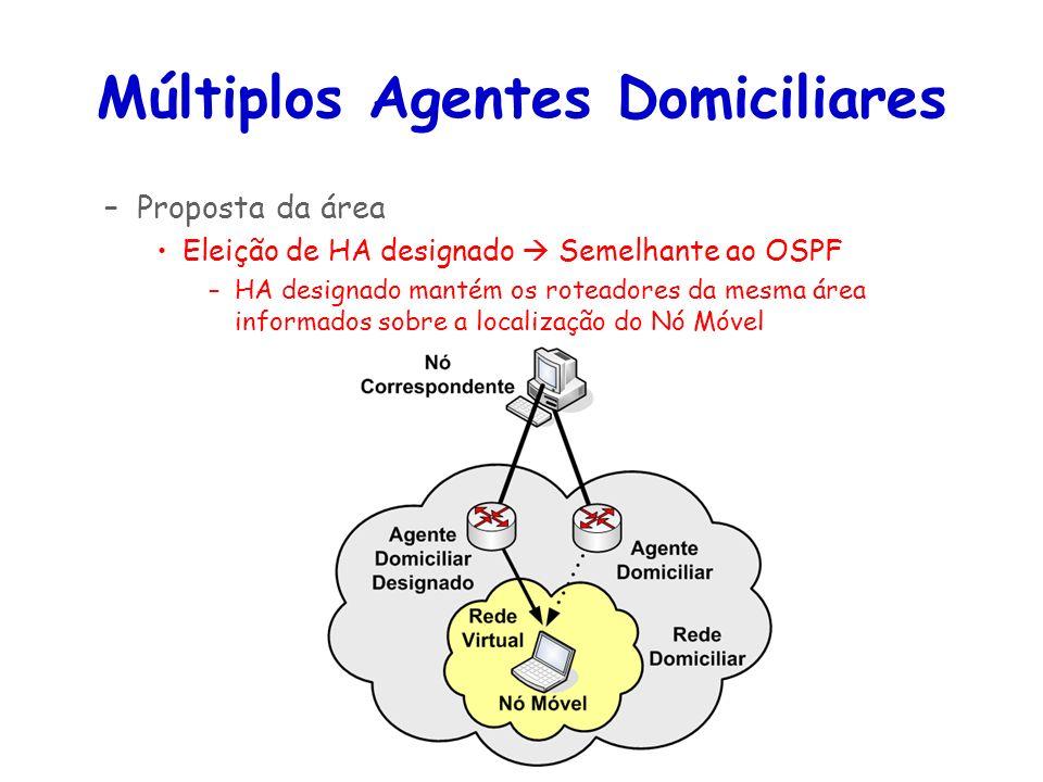 Tópicos Especiais em Roteamento na Internet – TET/UFF Professor Miguel Campista Múltiplos Agentes Domiciliares –Proposta da área Eleição de HA designa