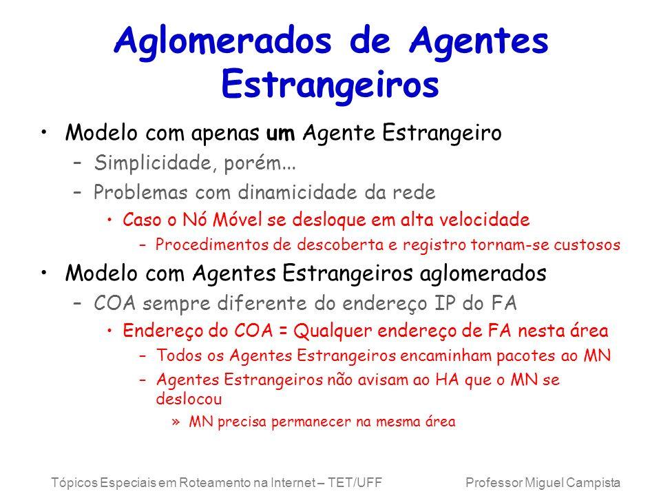 Tópicos Especiais em Roteamento na Internet – TET/UFF Professor Miguel Campista Aglomerados de Agentes Estrangeiros Modelo com apenas um Agente Estran