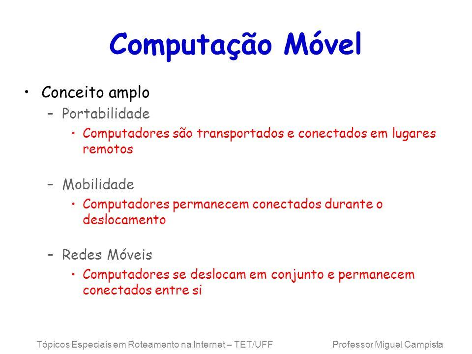 Tópicos Especiais em Roteamento na Internet – TET/UFF Professor Miguel Campista Computação Móvel Conceito amplo –Portabilidade Computadores são transp