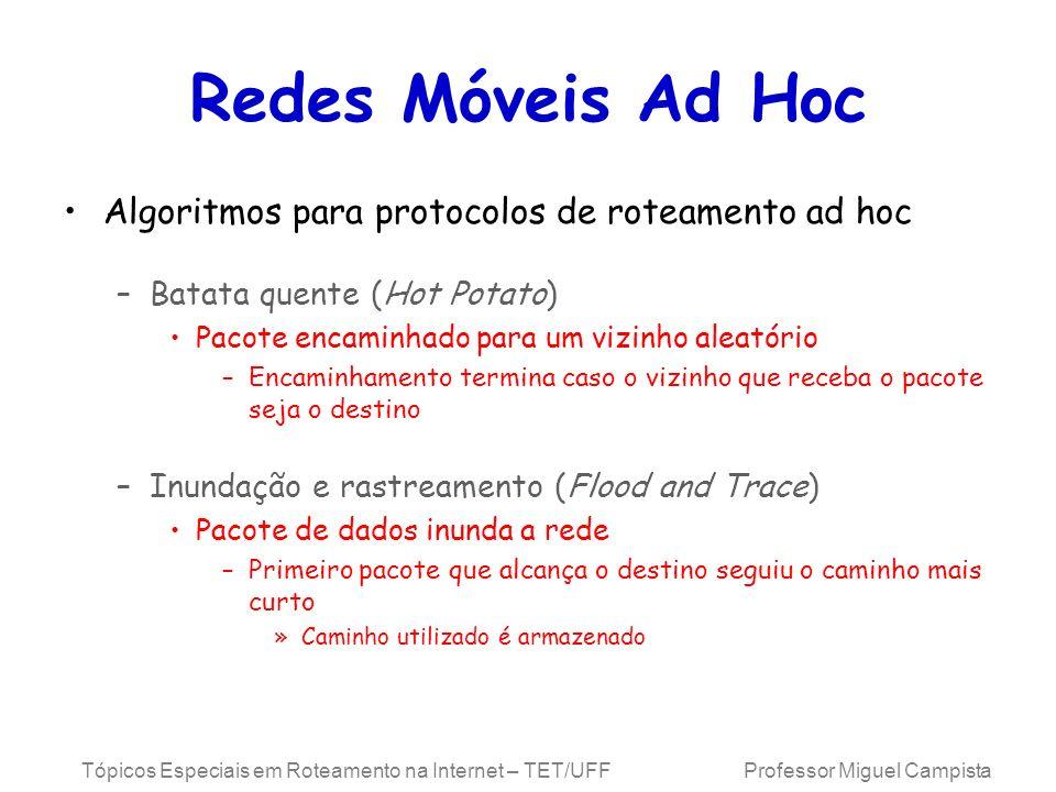 Tópicos Especiais em Roteamento na Internet – TET/UFF Professor Miguel Campista Redes Móveis Ad Hoc Algoritmos para protocolos de roteamento ad hoc –B