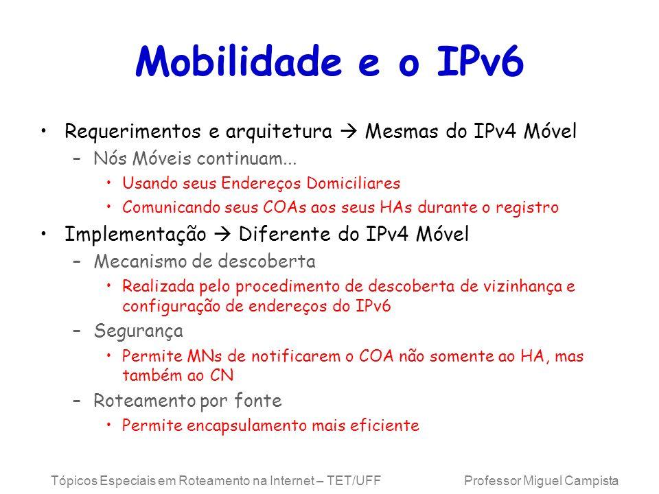 Tópicos Especiais em Roteamento na Internet – TET/UFF Professor Miguel Campista Mobilidade e o IPv6 Requerimentos e arquitetura Mesmas do IPv4 Móvel –
