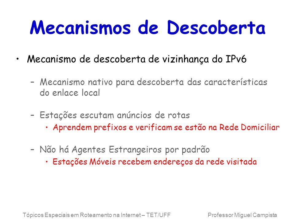 Tópicos Especiais em Roteamento na Internet – TET/UFF Professor Miguel Campista Mecanismos de Descoberta Mecanismo de descoberta de vizinhança do IPv6