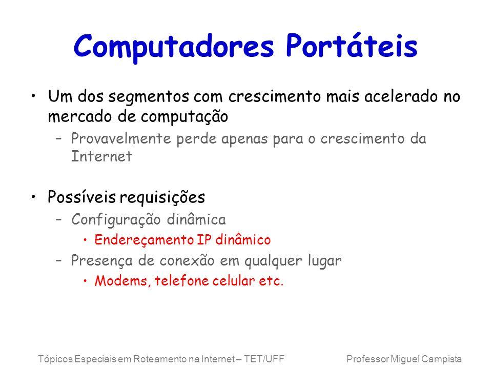 Tópicos Especiais em Roteamento na Internet – TET/UFF Professor Miguel Campista Encapsulamento Mínimo Cabeçalho comprimido –Tipo do protocolo do pacote encapsulado (Ex.: TCP) –Endereço IP de destino do pacote encapsulado –Checksum do cabeçalho comprimido (16 bits) –Campos opcionais Endereço de origem do pacote encapsulado –Se não for igual ao endereço de origem do cabeçalho de entrega HA COA, Enc.