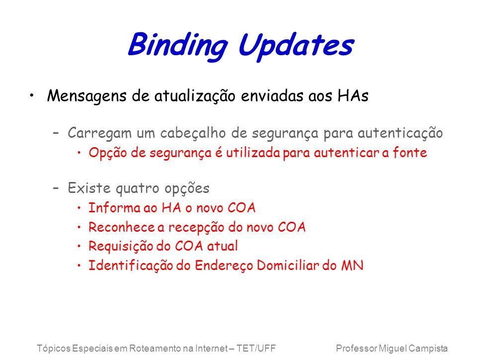Tópicos Especiais em Roteamento na Internet – TET/UFF Professor Miguel Campista Binding Updates Mensagens de atualização enviadas aos HAs –Carregam um