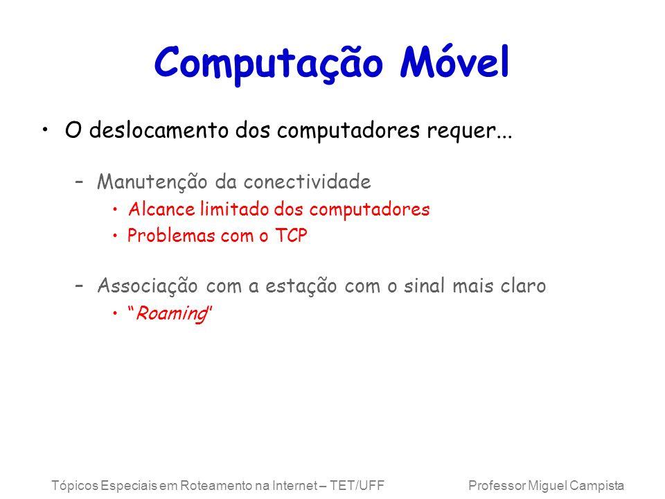 Tópicos Especiais em Roteamento na Internet – TET/UFF Professor Miguel Campista Mobilidade e o IPv6 Requerimentos e arquitetura Mesmas do IPv4 Móvel –Nós Móveis continuam...