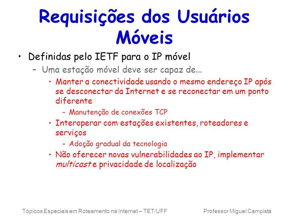 Tópicos Especiais em Roteamento na Internet – TET/UFF Professor Miguel Campista Requisições dos Usuários Móveis Definidas pelo IETF para o IP móvel –U