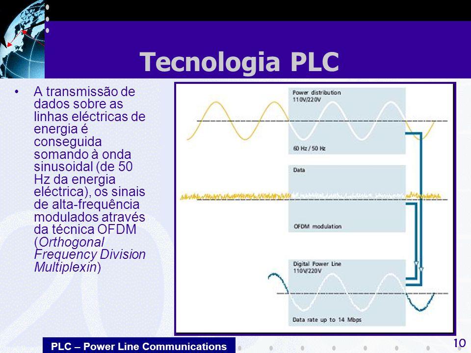 PLC – Power Line Communications 10 A transmissão de dados sobre as linhas eléctricas de energia é conseguida somando à onda sinusoidal (de 50 Hz da energia eléctrica), os sinais de alta-frequência modulados através da técnica OFDM (Orthogonal Frequency Division Multiplexin) Tecnologia PLC
