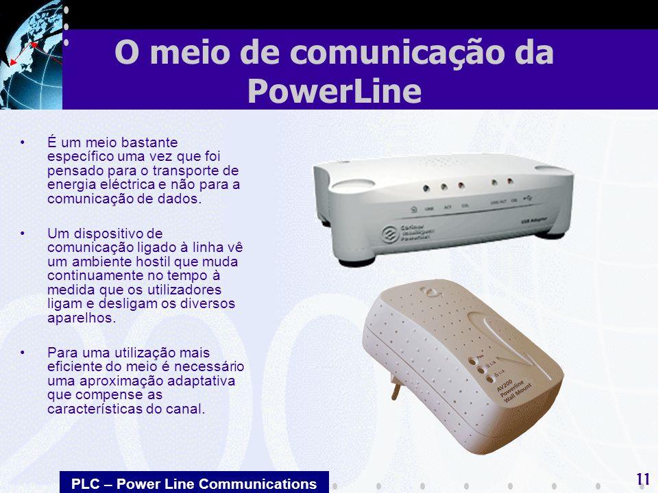 PLC – Power Line Communications 11 É um meio bastante específico uma vez que foi pensado para o transporte de energia eléctrica e não para a comunicação de dados.