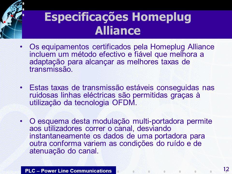 PLC – Power Line Communications 12 Os equipamentos certificados pela Homeplug Alliance incluem um método efectivo e fiável que melhora a adaptação par