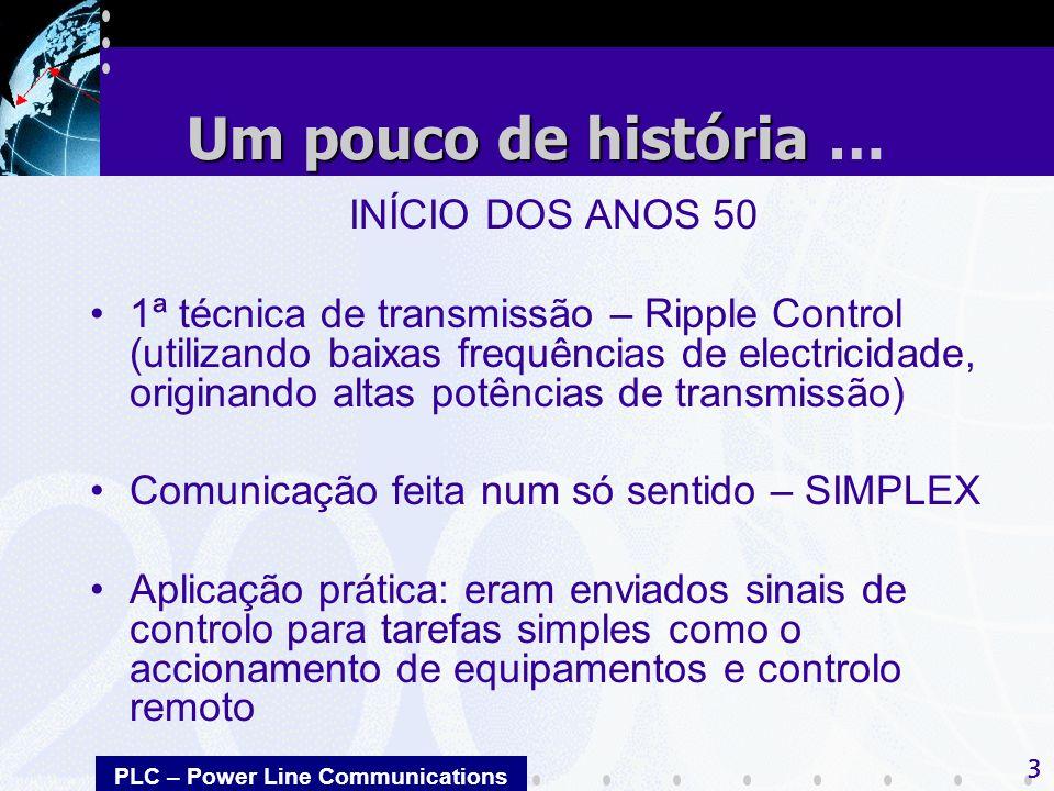 PLC – Power Line Communications 3 INÍCIO DOS ANOS 50 1ª técnica de transmissão – Ripple Control (utilizando baixas frequências de electricidade, origi