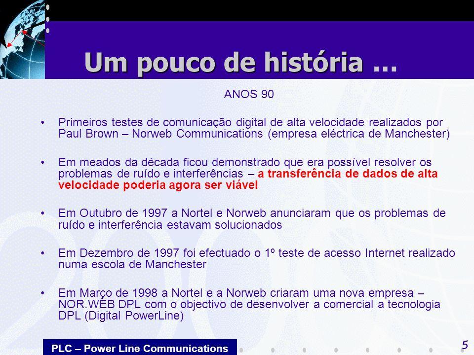 PLC – Power Line Communications 5 ANOS 90 Primeiros testes de comunicação digital de alta velocidade realizados por Paul Brown – Norweb Communications