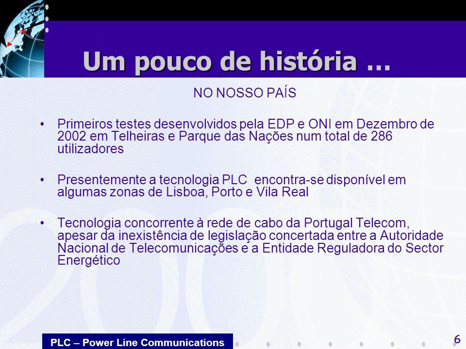 PLC – Power Line Communications 6 NO NOSSO PAÍS Primeiros testes desenvolvidos pela EDP e ONI em Dezembro de 2002 em Telheiras e Parque das Nações num