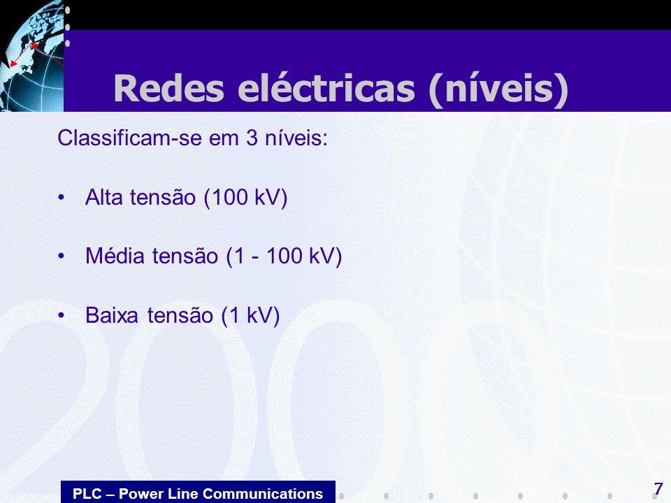 PLC – Power Line Communications 7 Classificam-se em 3 níveis: Alta tensão (100 kV) Média tensão (1 - 100 kV) Baixa tensão (1 kV) Redes eléctricas (nív