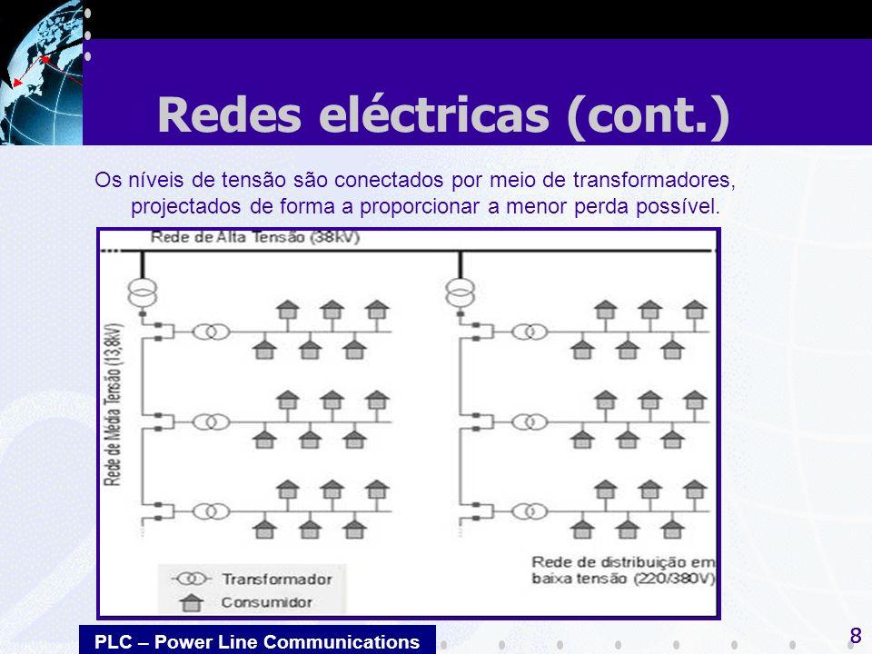 PLC – Power Line Communications 8 Os níveis de tensão são conectados por meio de transformadores, projectados de forma a proporcionar a menor perda po