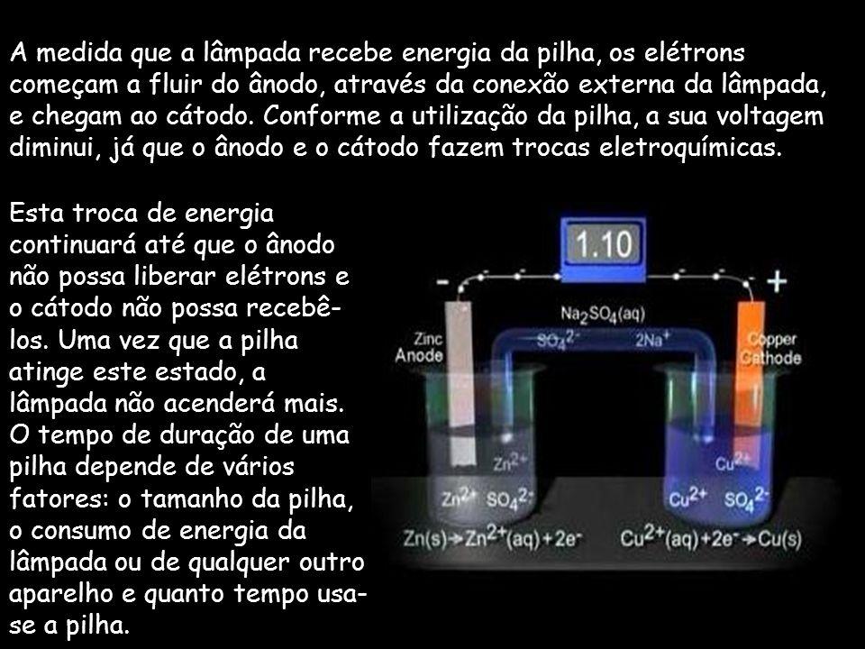 A pilha é uma fonte portátil de energia que é composta de três itens básicos: um ânodo, um cátodo e um eletrólito. Ânodo - Eletrodo Negativo da Pilha