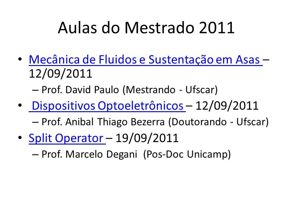 Aulas do Mestrado 2011 Mecânica de Fluidos e Sustentação em Asas – 12/09/2011 Mecânica de Fluidos e Sustentação em Asas – Prof. David Paulo (Mestrando